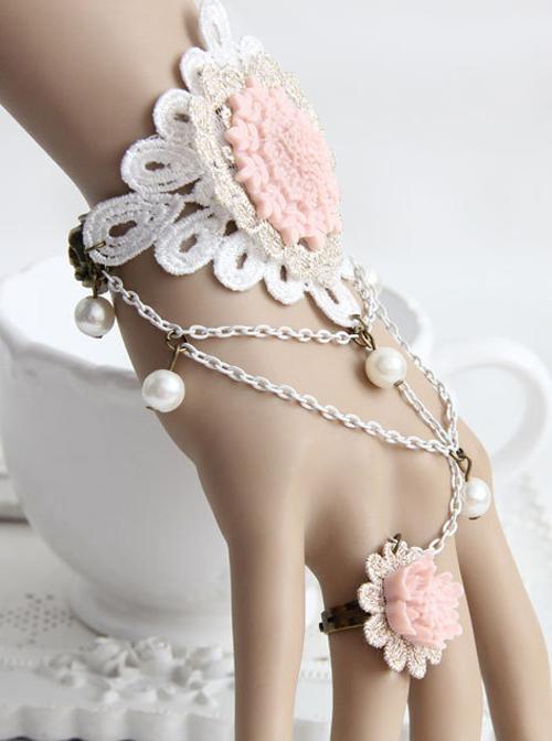 Pink Resin Flower White Lace Lolita Bracelet And Ring Set