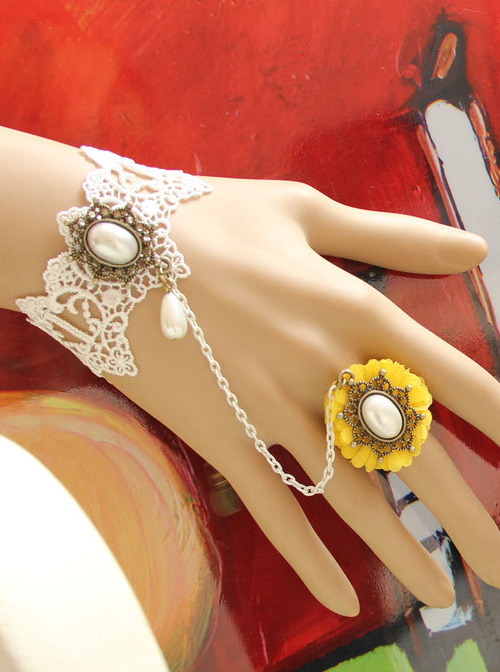 Vintage Lace Pearl Flower Girls Lolita Wrist Strap And Ring Set