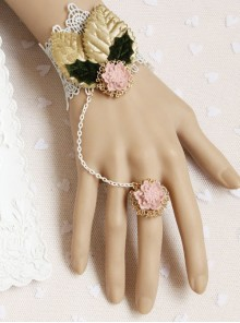 Cute Pink Resin Flower White Lace Girls Lolita Wrist Strap And Ring Suit