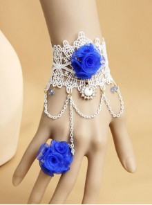 Concise White Lace Blue Flower Lolita Wrist Strap With Finger Ring