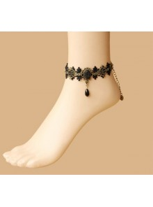 Retro Black Lace Bead Handmade Girls Lolita Ankle Belt