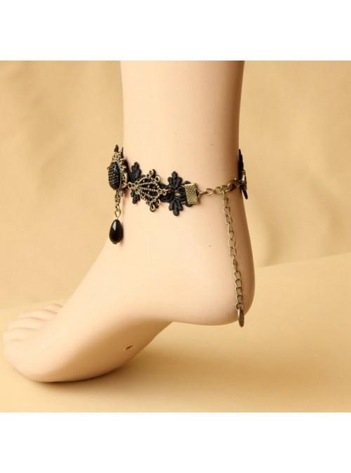 Retro Black Lace Bead Handmade Girls Lolita Ankle Belt