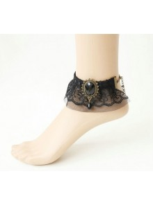 Retro Black Lace Bead Victorian Lady Lolita Ankle Belt