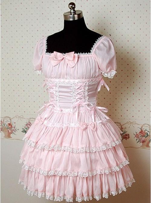 Pink Puff Short Sleeves Bow Cake Lolita Dress