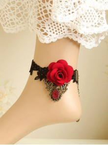 Black Lace Red Flower Women Lolita Ankle Belt