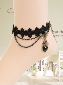 Concise Black Heart Pendant Handmade Girls Lolita Ankle Belt