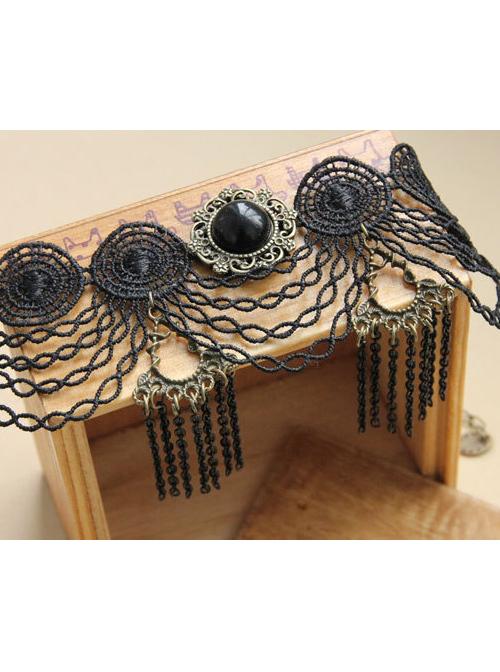 Gothic Black Lace Chain Tassel Girls Lolita Ankle Belt