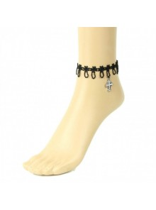 Gothic Black Lace Cross Lolita Ankle Belt