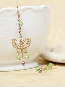 Golden Butterfly Green Crystal Tassel Lady Lolita Earrings