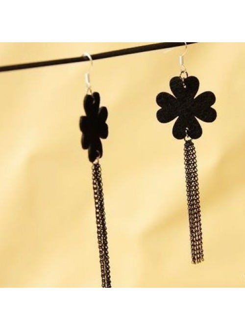 Black Flower Tassel Handmade Lady Lolita Earrings