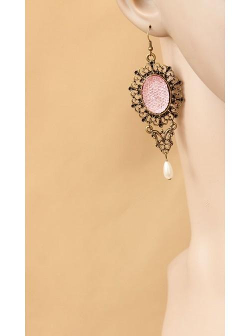 Retro Bead Handmade Women Lolita Pink Earrings