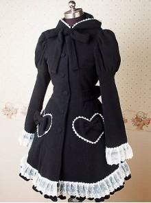 Black and White Long Puff Sleeves Bow Lace Lolita Coat
