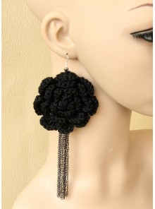 Big Black Flower Girls Handmade Lolita Earrings