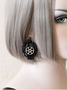 Steampunk Mechanical Gear Black Lolita Earrings