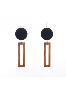 Black Geometric Pattern Combination Handmade Earrings