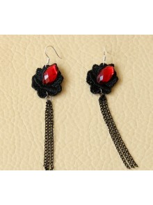 Gothic Floral Long Tassel Lolita Earrings