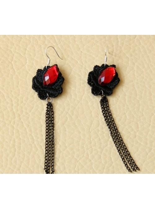 Gothic Floral Long Tassel Lolita Earrings