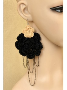 Knitting Wool Flower Metal Chain Women Lolita Earrings
