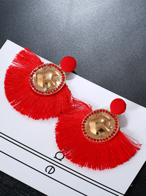 Chinese Style Red Long Tassel Retro Exaggeration Earrings