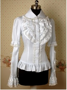 White Long Sleeves Lace Elegant Lolita Shirt