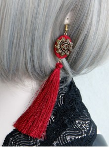 Gorgeous Retro Red Long Tassel Lady Earrings
