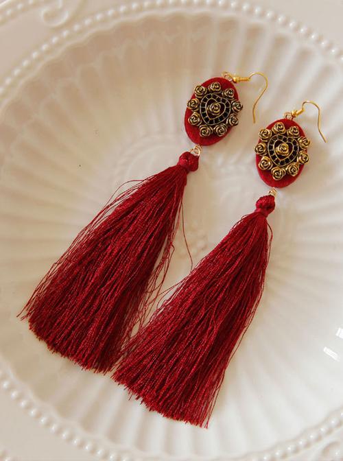 Gorgeous Retro Red Long Tassel Lady Earrings