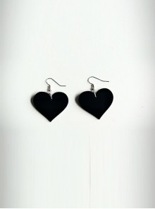 Concise Black Acrylic Heart Lady Lolita Earrings