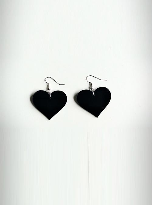 Concise Black Acrylic Heart Lady Lolita Earrings