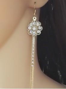 Sweet Floral Metal Chain Girls Lolita Earrings