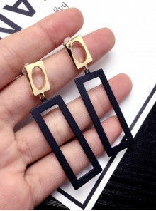 Modern Concise Rectangle Long Earrings