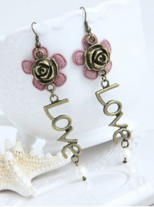 Cute Pink Flower Love Lolita Earrings