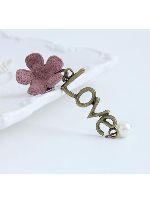 Cute Pink Flower Love Lolita Earrings