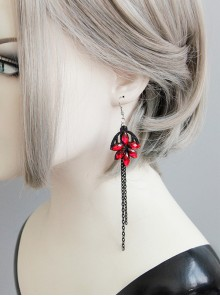 Handmade Black Long Tassel Girls Lolita Earrings