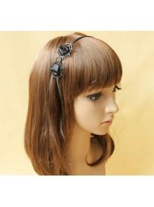 Handmade Black Cobweb Gothic Rose Lolita Headband