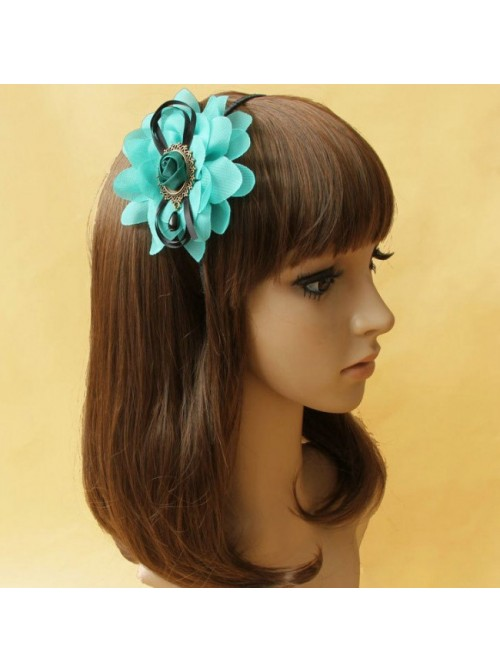 Retro Green Floral Handmade Lolita Headband