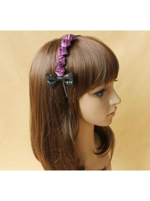 Cute Purple Roses Bowknot Girls Lolita Headband