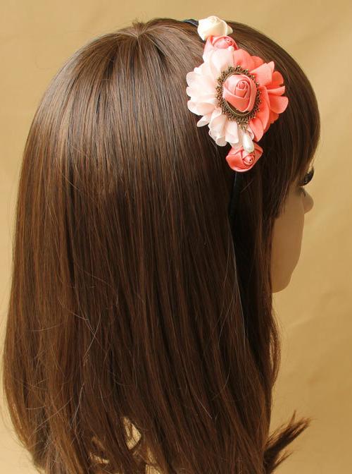 Elegant Handmade Pink Floral Girls Lolita Headband