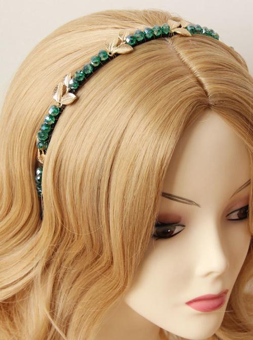 Retro Leaves Rhinestone Girls Lolita Headband