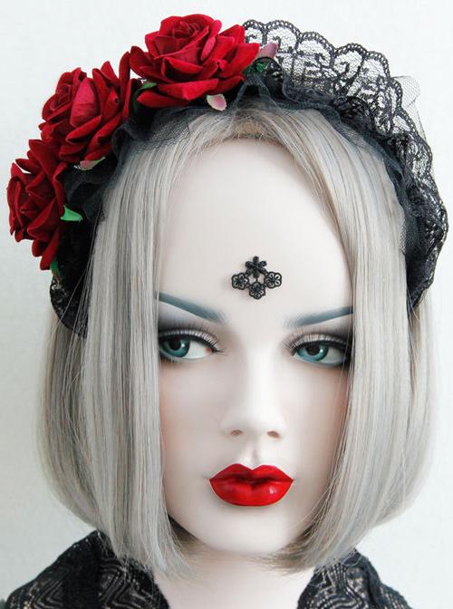 Handmade Gorgeous Black Lace Gothic Lolita Headband