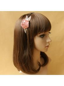 Handmade Sweet Pink Rose Lolita Headband