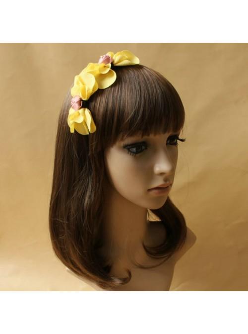 Handmade Yellow Floral Girls Lolita Headband