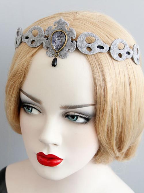 Handmade Halloween Skull Shape Felt Cloth Girls Lolita Headband