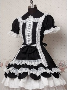 Black and White Puff Short Sleeves Ruffle Bow Lolita Dress