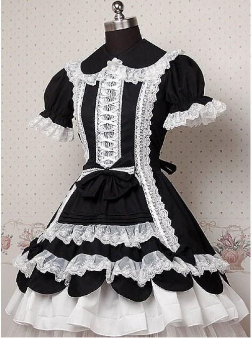 Black and White Puff Short Sleeves Ruffle Bow Lolita Dress