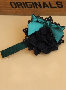 Elegance Blackish Green Handmade Bowknot Lady Lolita Headband