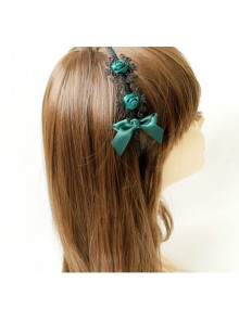 Retro Dark Green Rose And Bowknot Handmade Lolita Headband