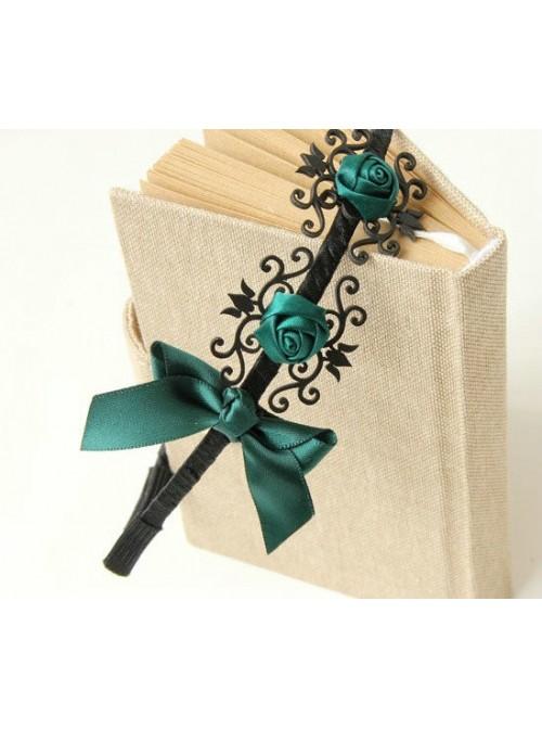 Retro Dark Green Rose And Bowknot Handmade Lolita Headband