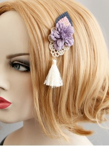 Purple Flower Tassel Chinese Style Handmade Lolita Hairpin