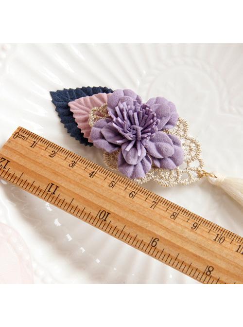 Purple Flower Tassel Chinese Style Handmade Lolita Hairpin
