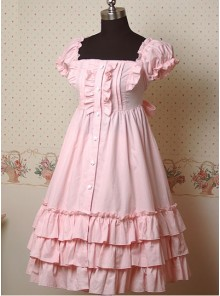 Pink Puff Short Sleeves Ruffle Lolita Dress
